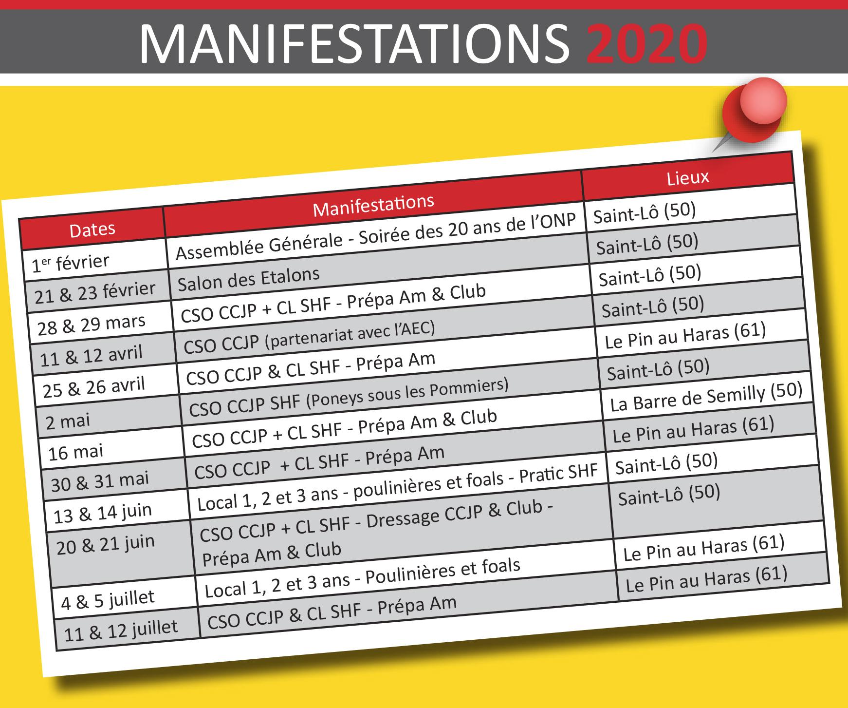 Calendrier des manifestations de l'ONP 2020