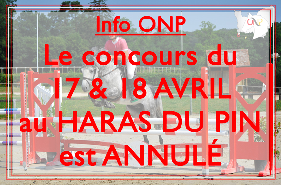 Annulation concours Haras du Pin avril 2021